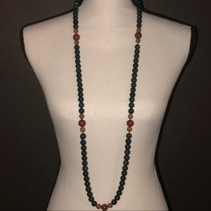 """Jewelry - 22"""" Tri-Color Polished Stone Necklace"""